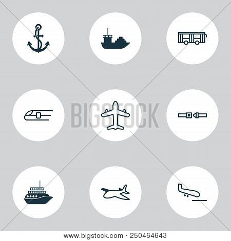 Vehicle Icons Set With Air Transport, Motorboat, Airplane And Other Metro Elements. Isolated Vector