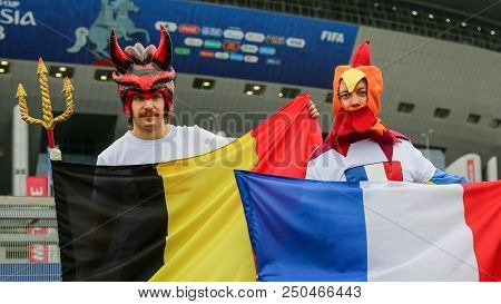St. Petersburg, Russia - July 10, 2018: Supporters Of Belgium And France National Football Team At S