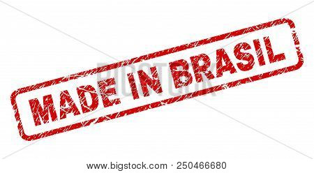 Made In Brasil Stamp Seal Print With Grunge Style. Red Vector Rubber Print Of Made In Brasil Tag Wit