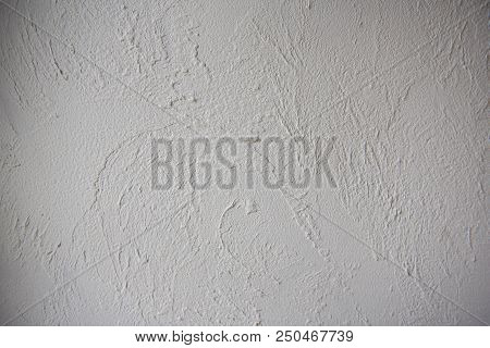 Grey Plaster Background, Cracked And Textured Leaden Cement