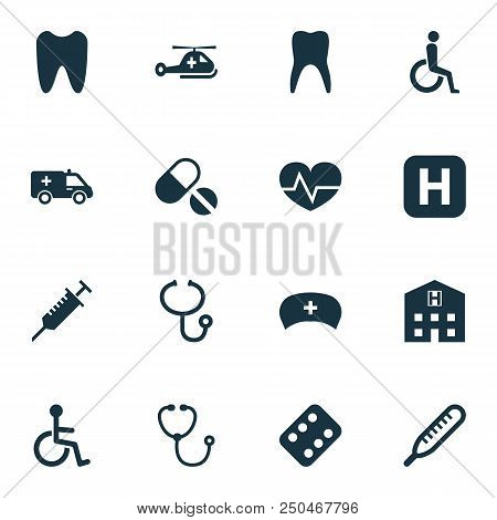 Antibiotic icons set with body check, invalid, stethoscope and other claw elements. Isolated  illustration antibiotic icons. poster