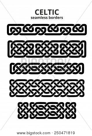 Set Of Five Seamless Celtic Borders, Vector Illustration