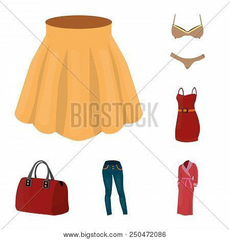 Women Clothing Cartoon Icons In Set Collection For Design.clothing Varieties And Accessories Vector