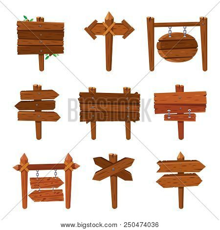 Cartoon Wooden Arrows. Vintage Wood Old Sign Boards And Billboard Arrow Signs Frame Nail Plank. Isol