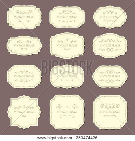 Vintage Label Frames. Old Fashioned Ornamental Labels, Fashion Product Victorian Tag Cardboard. Retr