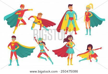 Cartoon Superhero Characters. Female And Male Flying Superheroes Pose With Superpowers In Mantle Cap
