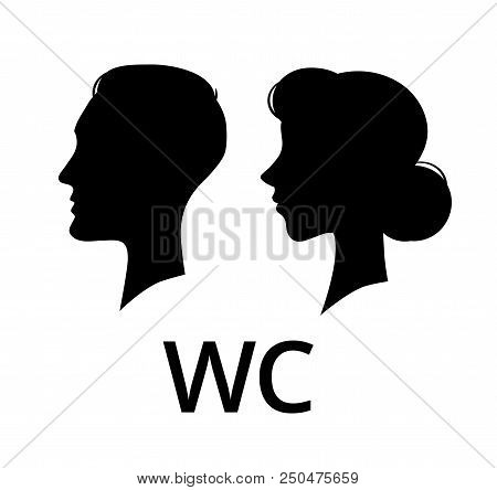 Wc Toilet Sign. Male And Female Face Profile Public Washroom Door Lavatory. Ladies And Gents Restroo