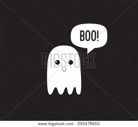 Ghost. Cute Halloween Ghost With Speech Bubble. Boo. Vector Illustration