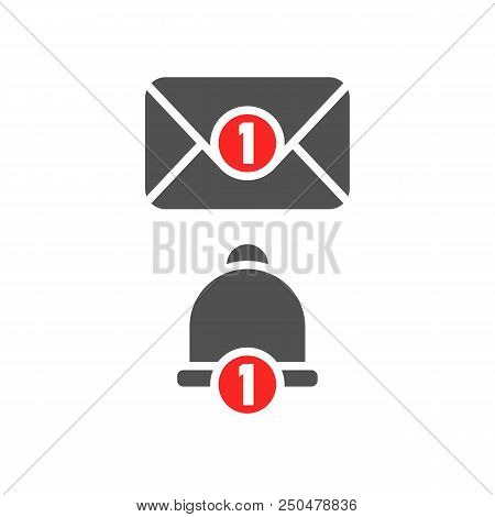 Inbox New Message And Notification Bell Icon. Grey Color Object. One New Incoming Report Envelope Wi