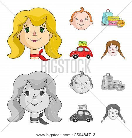 Camping, Woman, Boy, Bag .family Holiday Set Collection Icons In Cartoon, Monochrome Style Vector Sy