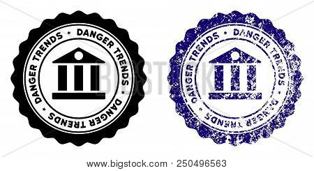 Bank Danger Trends Round Stamp In Grunge Blue And Clean Black Styles. Rubber Seal Stamp With Grunge