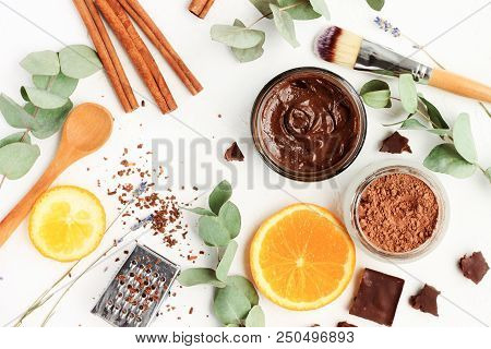 Chocolate Skincare Mask. Natural Ingredients For Making Beauty Treatment Products. Cacao, Orange Sli