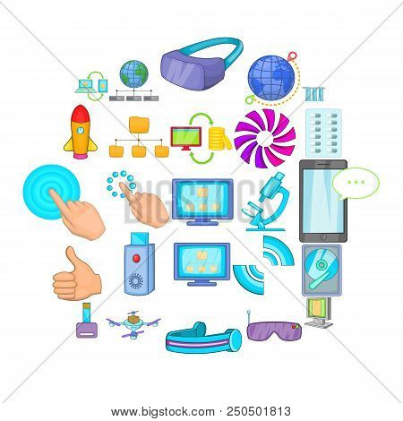 Progressive Technology Icons Set. Cartoon Set Of 25 Progressive Technology Vector Icons For Web Isol