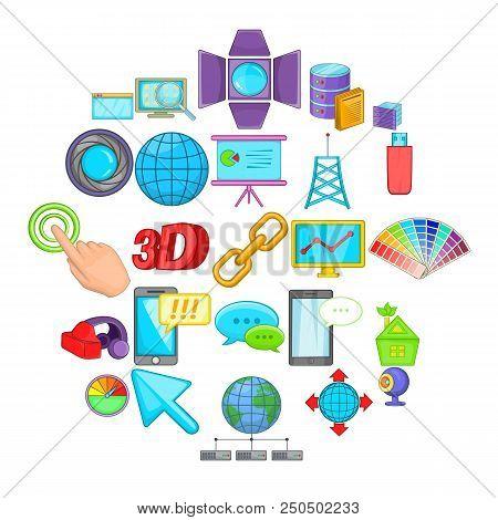 Progressive Advertising Icons Set. Cartoon Set Of 25 Progressive Advertising Vector Icons For Web Is