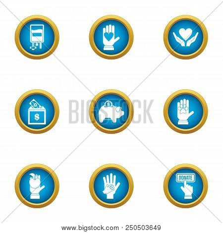 Donate welfare icons set. Flat set of 9 donate welfare vector icons for web isolated on white background poster