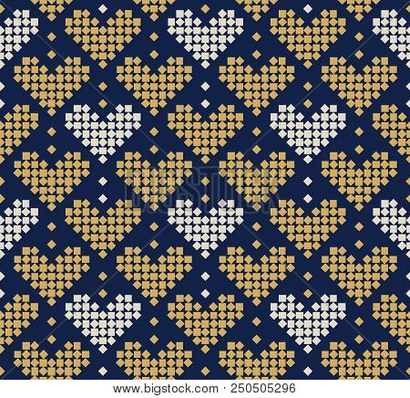 Abstract Seamless Pattern With Hearts Composed Of Small Squares, Seamless Hearts Pattern, Romantic S