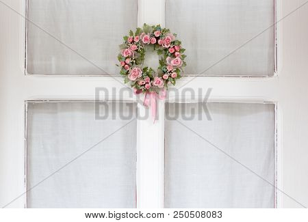 White Door, Glass Window, Pink Floral Welcome Wreath Ornament