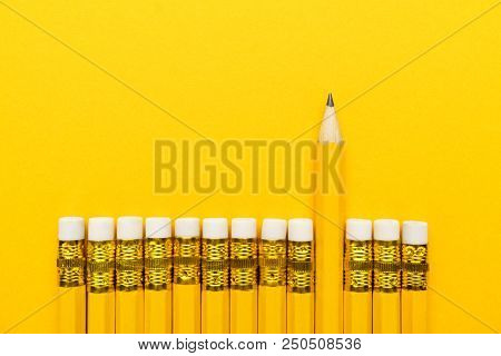 Row Of Yellow Pencils. Yellow Pencils With Erasers. Leadership Concept With Yellow Pencils. Pencils