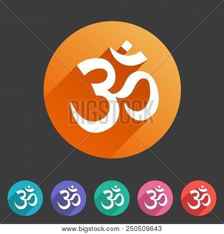 Om Aum Hinduism Map Location Pointer Icon Flat Web Sign Symbol Logo Label Set