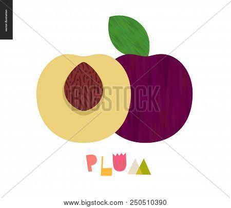 Food Patterns - Fruit, Vector Flat Illustration Of Plum - Simple Half Of Plum Fruit Full Of Firm Yel