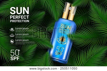 Sunscreen Spray Sun Protection Cosmetics Product Ads. Sunblock 3d Realistic Packaging Mockup Design