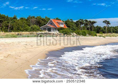 Picturesque Coastal Village Landscape. The Stock Photo.