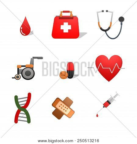 Health Heart Care Concept Medical Icons Signs Isolated On White Background.medical Infographics. Hea