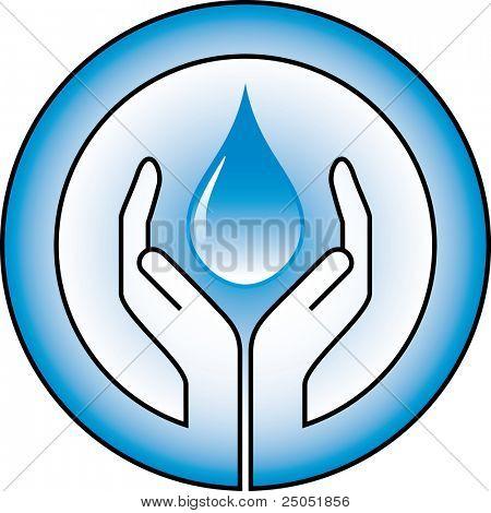 Wassertropfen und Hände
