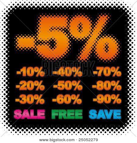 discount set for pricetag  (halftone design series)