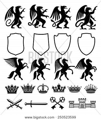Heraldic Royal Coat Of Arms And Heraldry Signs Constructor Of Pegasus Horse, Griffin Bird Or Animal