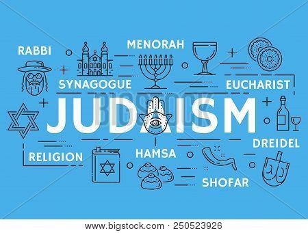 Judaism Poster Of Jewish Religious Symbols. Vector Thin Line Design Of David Star And Torah Judaism