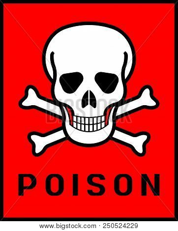 Crossbones and death skull, danger or poison flat icon poster