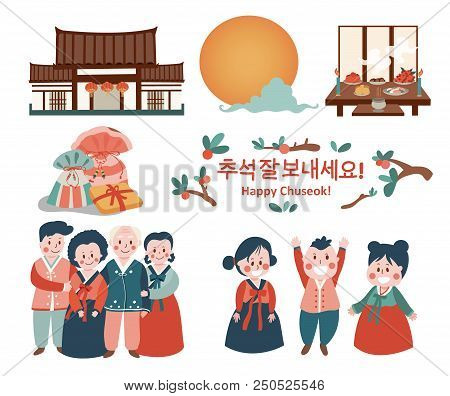 Chuseok Celebration Elements With Family Reunion In Korean  Costume, Money Bag, Full Moon, Persimmon