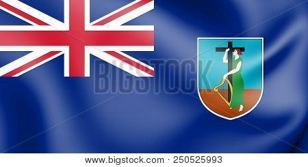 3d Flag Of Montserrat. 3d Illustration. Front View.