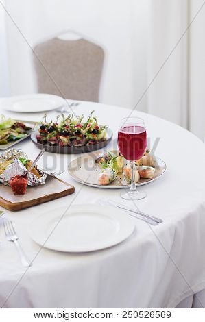 Table Setting Before Banquet In Restaurant, Stock Photo Image