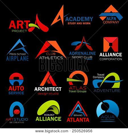 Letter A Icons Set For Art Or Architect Design Studio And Construction Company Design. Vector Abstra