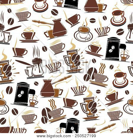 Coffee Seamless Pattern Of Coffee Cups, Makers For Cafeteria Design. Vector Background Of Coffee Bea