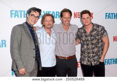 LOS ANGELES - JUL 19:  Joey Bragg, David Spade, Nat Faxon, Jared Sandler at the