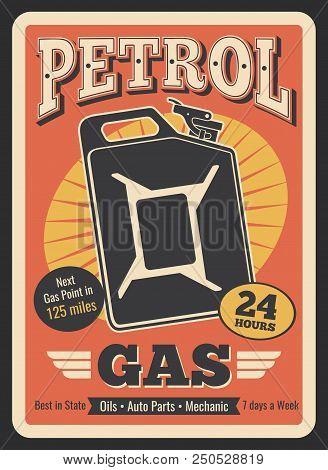 Gasoline Station Retro Poster Of Gas Canister Or Gasoline Jerrycan. Vector Vintage Design For Car Se