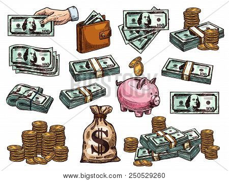 Money Dollar Banknotes And Coins Or Piggy Bank Sketch Icons. Vector Set Of 100 Dollars Money Bank No