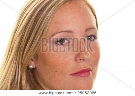 blond woman with freckles