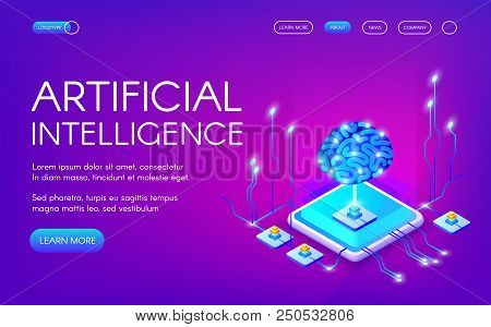 Artificial Intelligence Vector Illustration Of Human Brain With Digital Neurons Chipset. Cyborg Mind