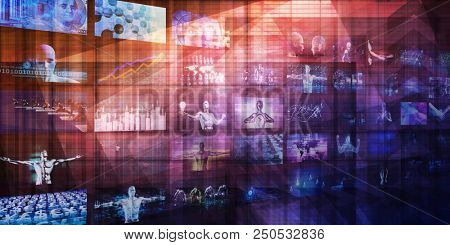 Content Marketing on a Video Wall as Digital Concept
