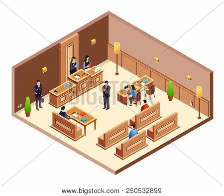 Court Hearing Cross Section Vector Illustration. Isometric Courthouse Hall Room With Modern Interior