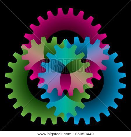 Tree colored gears isolated on black (settings, brainstorm or amalgamation icon)