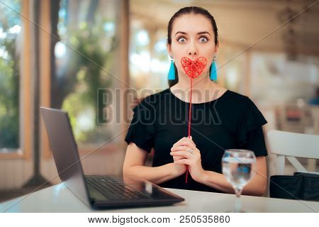 Woman Trying Online Internet Dating Services Searching For Love