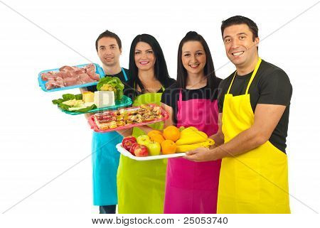 Happy Team Of Market Workers With Fresh Food