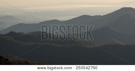 rolling hills with blue haze in the Appalachian mountains of western North Carolina poster