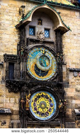 Prague chimes or eagle clock (Czech Prazsky orloj, also Czech Staromestsky orloj) .The medieval clock tower, mounted on the south wall of the Old Town Hall tower poster