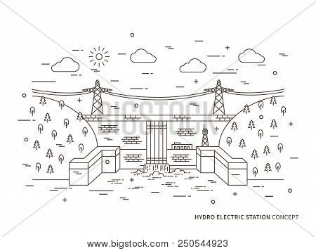 Linear Hydro Electric Station, Hydroelectric Power Plant Vector Illustration. Hydro Power Engineerin